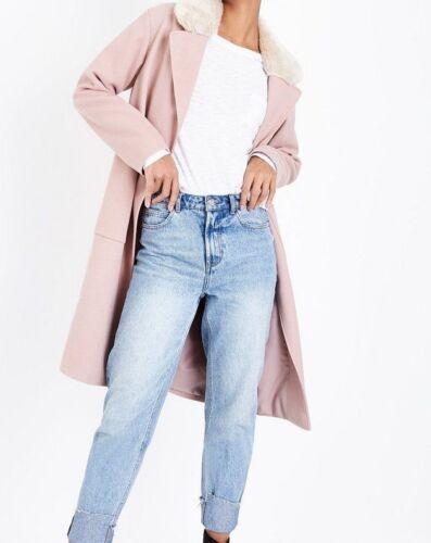 10 Coat Shell Fur New Collar Size Look Longline Pink Faux 1wq10SxAX