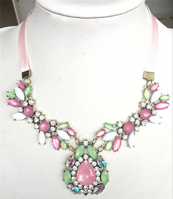 Fashion Jewelry Pendant Chain Drop Crystal Choker Chunky Statement Bib Necklace