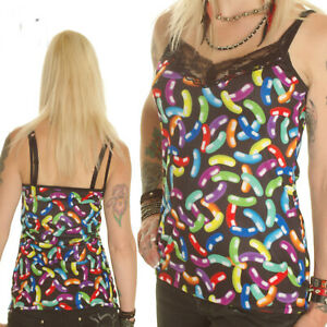 BLACK-NEON-JELLY-BEANS-STRAPPY-VEST-TOP-CAMISOLE-GOTHIC-ALTERNATIVE-SIZE-12-18