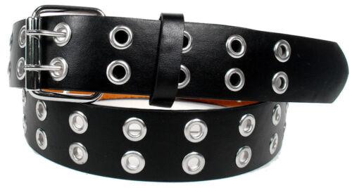 Men Women Unisex 2 Holes Row Grommet Bonded Leather Belt Removable Metal Buckle