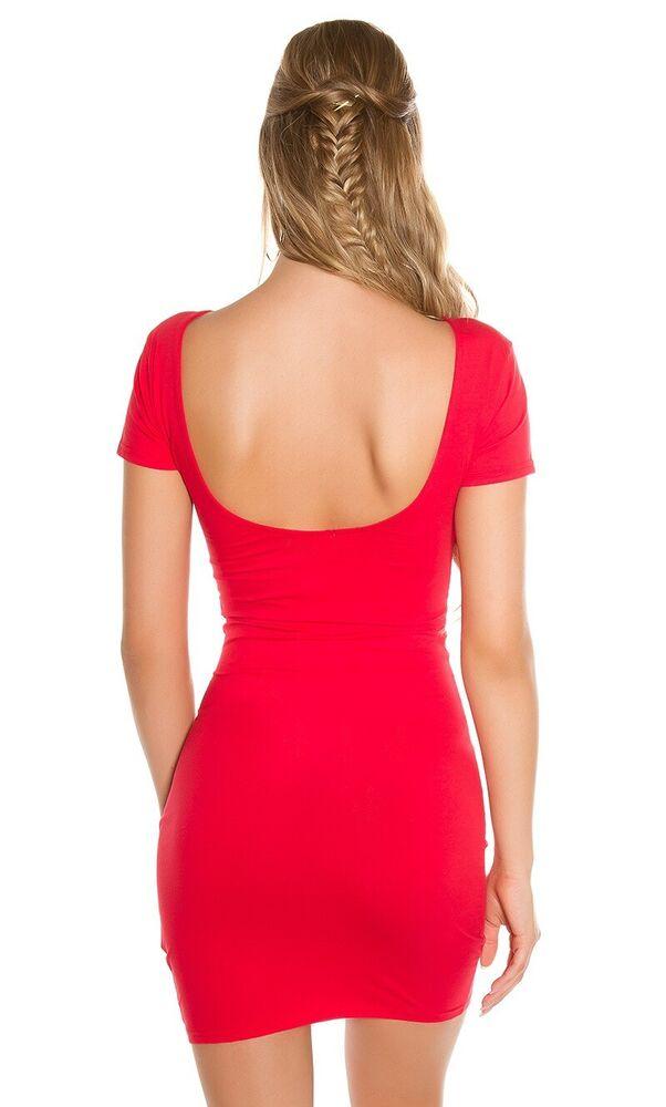 Basic à Manches Courtes-mini-robe Longtop Avec Un Profond Dos Col-itt