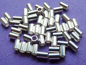 2mm 925 Sterling Silver Seamless Crimp Tube 100pcs.