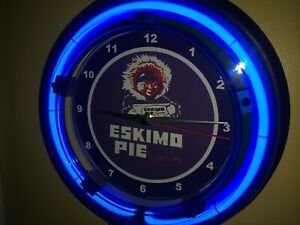 Details about Eskimo Pie Ice Cream Kitchen Diner Advertising Blue Neon Wall  Clock Sign