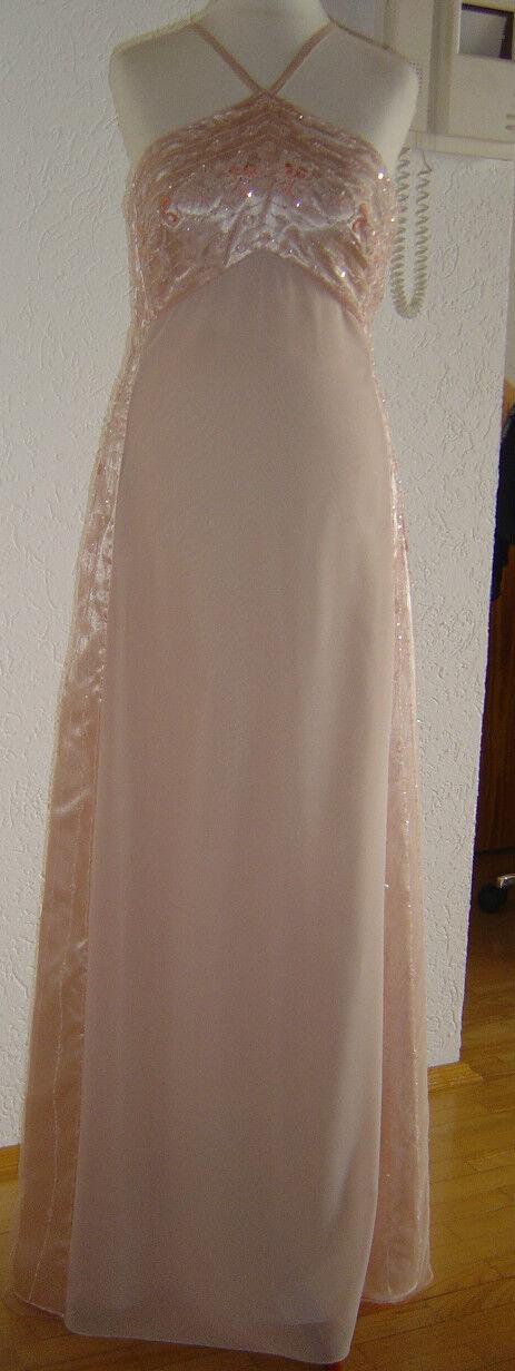 Original AVANTI Kleid langes, festliches Kleid Nude mit Glitzer Größe 38