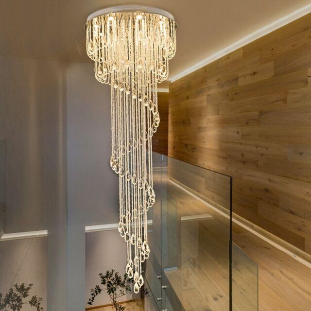 Led Crystal Ceiling Light Chandelier Stair Pendant Lamp Drop
