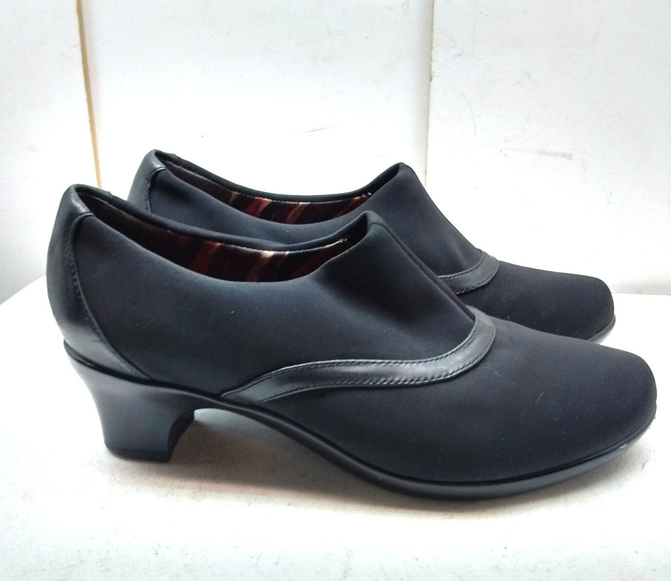 Abeo Judith donna nero Microfiber Slip On Heel Pump avvioie Dress Casual scarpe 7W