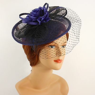 NEW Church Derby Wedding Sinamay w Feather Fascinator Cocktail Black 408