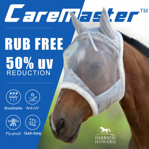 Harrison Howard CareMaster Fly mask Extra Wool Protection Moonlight Silver