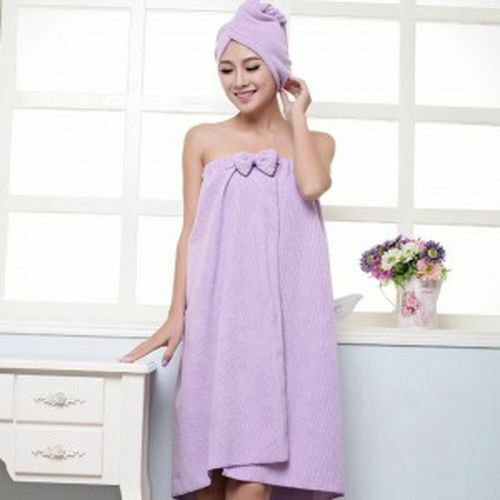 Microfiber Bath Towel Set For Women With Hair Band Bathrobe Home Textiles Towels