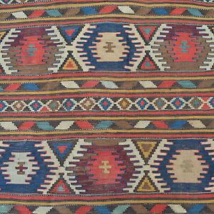 Antik Kaukasus Kelim Teppich Wolle Gewebt 290x134 Kazak Kilim Rug