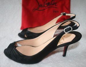 a653a3023c05 Christian Louboutin Black Satin Peep Toe Pumps Sling Back Shoes Size ...