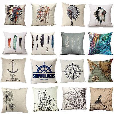 """18"""" Vintage Feather Cotton Linen Pillow Case Sofa Throw Cushion Cover Home Decor"""