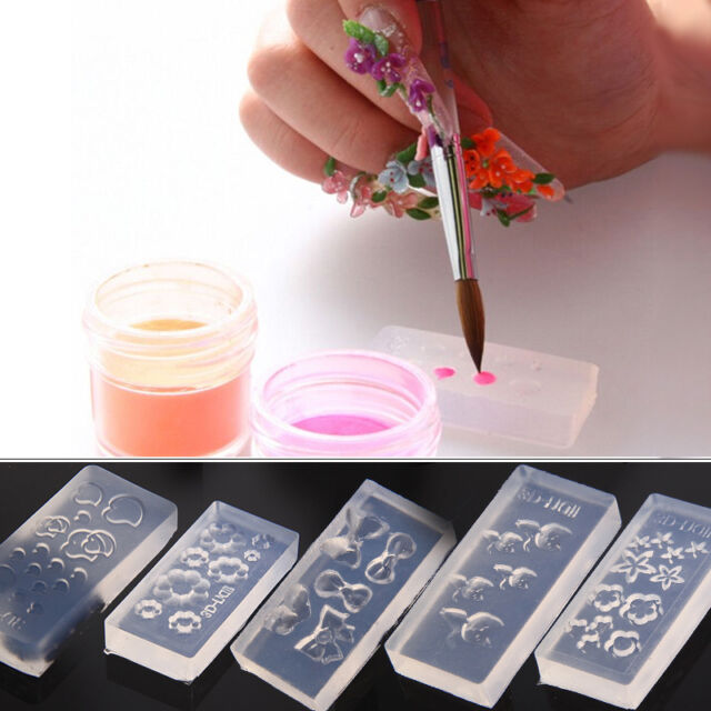 Nail Art 3d Gel Acrylic Powder Silicone Manicure Mould Set Nail