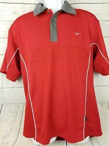 Nike-Mens-Golf-Polo-Shirt-Dri-Fit-UV-Red-Short-Sleeve-Size-Large