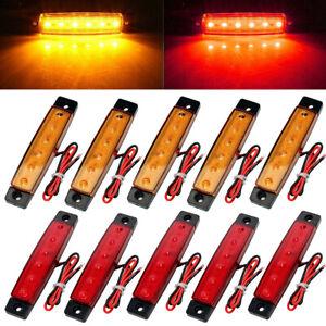 10-Pcs-Red-Amber-12v-6-Led-Side-Marker-Indicators-Lights-Truck-Trailer-Bus-Lamp