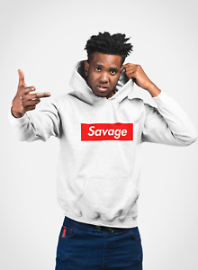 Image is loading Savage,Red,Box,Logo,Hoodie,Hip,Hop,Underground,