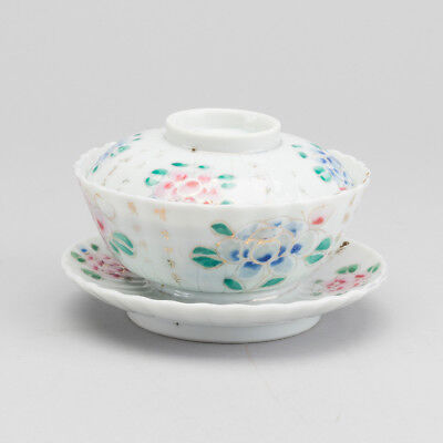 ANTIQUE CHINESE GUANGXU FAMILLE ROSE PORCELAIN TEA CUP CALLIGRAPHY QING DYNASY