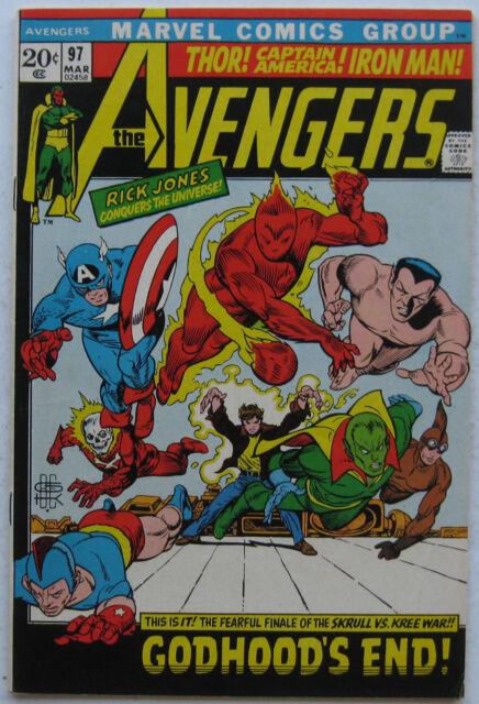Avengers #97 (Mar 1972, Marvel) VG-FN, G.A. Capt America, Sub-Mariner, Torch