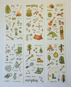 Camping-6er-Pfadfinder-Urlaub-Natur-Kinder-Abenteuer-Sticker-Aufkleber-Herbst
