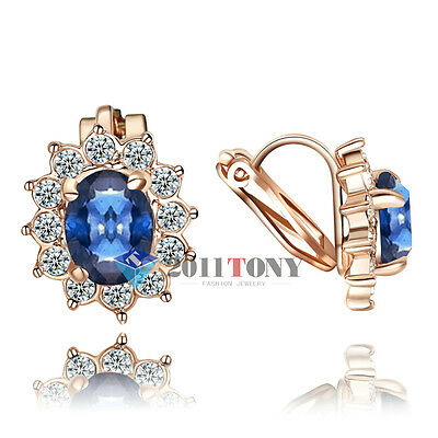 Sapphire Clip on Earrings 18K Rose Gold GP Use Swarovski Crystal Jewelry 4 Color