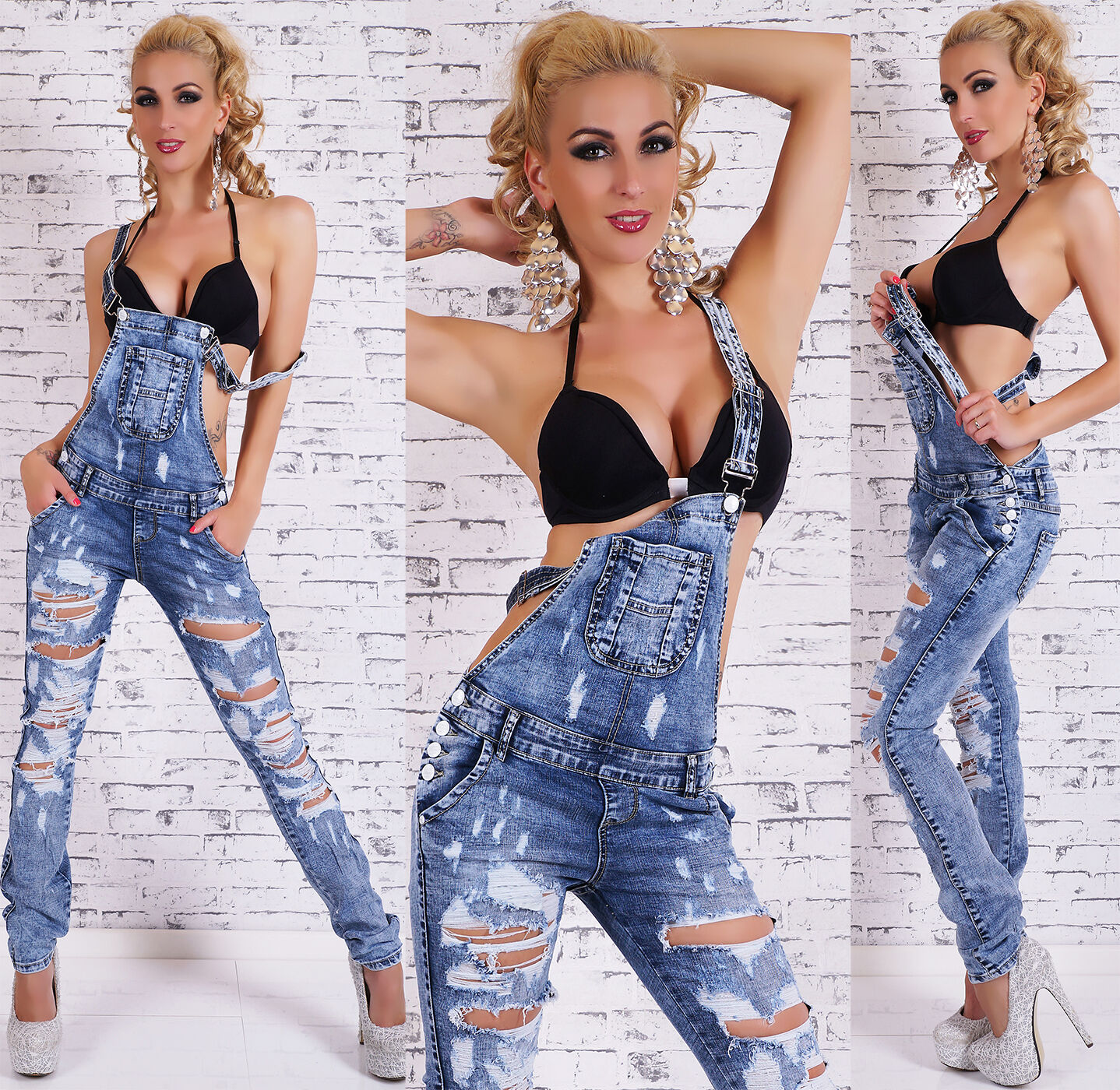 SIMPLY CHIC Latzjeans destroyed Gr.32-42