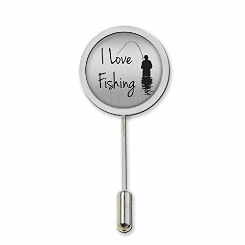 I Love Fishing Stick Pin Tie Pin Badge With Protector Ideal Birthday Gift c407