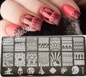 Aztec Pattern Nail Art Stamps Templates Nails Image Plates Born