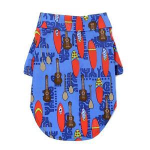 Doggie-Design-Hawaiian-Camp-Dog-Shirt-Ukuleles-and-Surfboards-Sizes-XXS-2XL