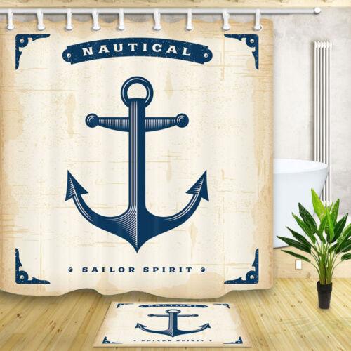 Nautical Anchor Beach Ocean starfish Waterproof Fabric Shower Curtain Bath Mat
