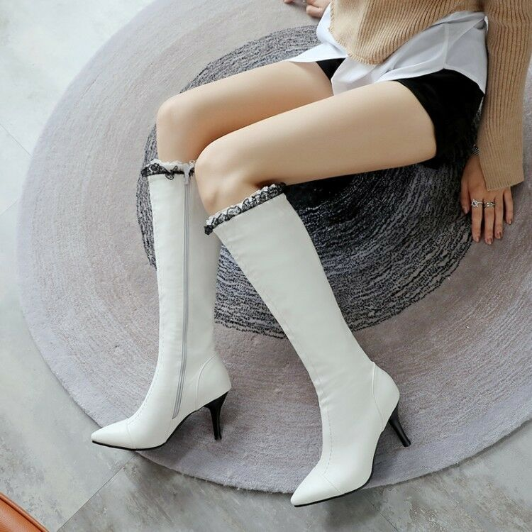 Ladies Knee High Boots Pointed Toe Stilettos Lace Fashion Side Zip Casual shoes