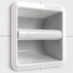 SmartRoll WHITE Low Profile Magnetic Modern Stylish Recessed Toilet Roll Holder