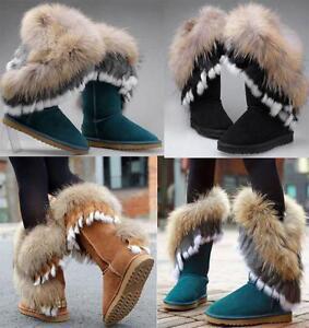 fashion Womens Real Leather Fox Rabbit winter warm Fur Trim Boots Shoes Flats