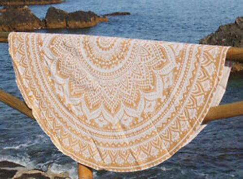 Indische Mandala runde Strand Tapisserie Picknick Bettlaken Strand Tuch Yoga Mat