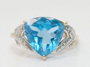 Women-039-s-10K-Gold-3-5-Ct-Trillion-Light-Blue-Topaz-amp-Diamond-Ring-Size-7-25