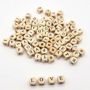 100pcs-10mm-Wooden-Alphabet-Letter-Jewelry-Making-DIY-Beads-Baby-Teether-Hot