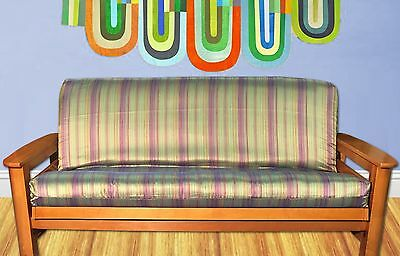 New Funky Iridescent Like Futon Cover Full Size Multicolor Stripes