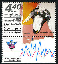 Israel 1248 tab, MNH. Veterinary Services, 75th anniv. 1995