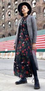 608422e3 zara black roses print maxi shirt dress floral aw17 size xs new tags
