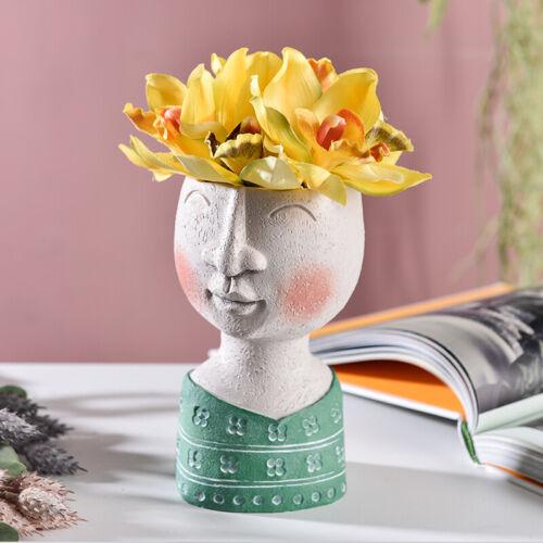 Cute Human Head Portrait Resin Flower Pot Succulent Plant Vase Garden Home Decor