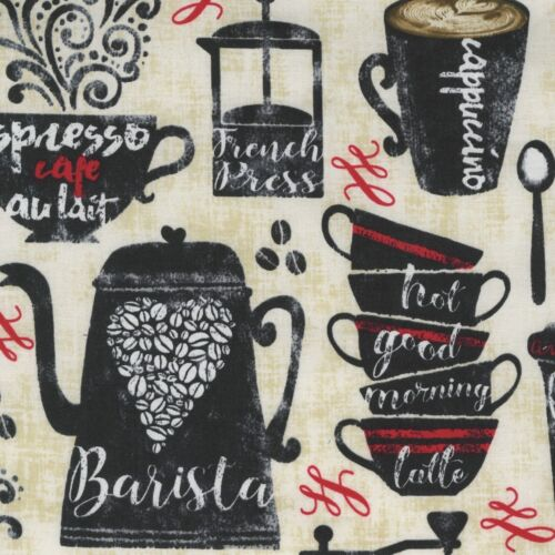 Fabric Coffee House Mug Barrista on Tan Cotton by the 1//4 yard BIN
