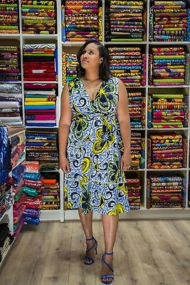 Nett Floral African Print Knee Length Party Dress In Ankara Print Fabric, Wrap Dress Bequemes GefüHl