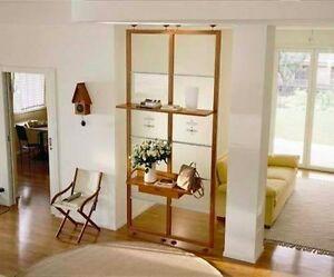 Parete divisorio mensole quinta in ciliegio e vetro ebay - Mensole vetro ikea ...