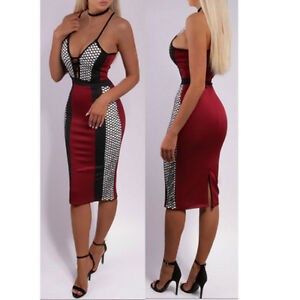 UK-Womens-Bodycon-Strappy-V-Neck-Mesh-Honeycomb-Evening-Party-Ladies-Midi-Dress