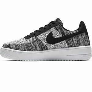 Nike-Air-Force-1-Flyknit-UK-Size-5-5-Women-039-s-Trainers-Black-White-Shoes