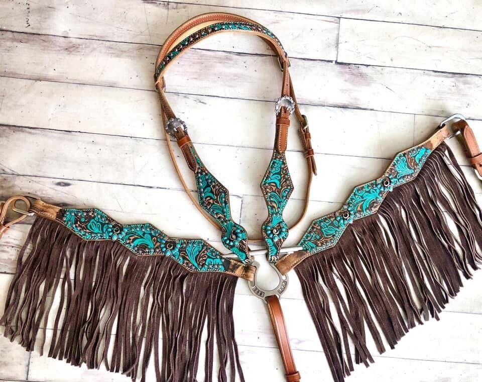 Western Bling  Turquoise Leather Tack Set Horse Bridle + Breast Collar w  Fringe