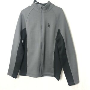 Spyder-Mens-Size-Large-Jacket-Charcoal-Gray-Black-Full-Zip-Sweater-Crew-Neck