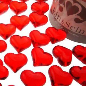 30x Funkelnde Herzen Acryl 22mm klar Dekoration Glasherzen Streudeko Deko Herz