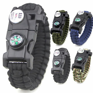 Whistle Paracord Survival Bracelet: Fire Starter SOS Light Compass Mini-Tool