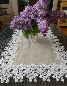 """Dresser Scarf  Runner Flower Lace Neutral Burlap Natural Floral Daisy Doily 35"""""""
