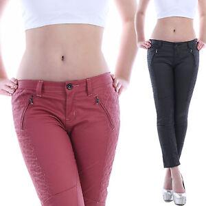 Pantalones-Vaqueros-De-Mujer-Pantalon-Pitillo-Cintura-Baja-aspecto-cuero